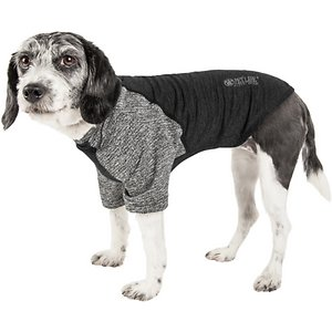 Pet Life Active Hybreed 4-Way Stretch Two-Toned Performance Dog T-Shirt, Black/Grey, Small; Help improve your pal's athletic paw-formance with the Pet Life Active Hybreed 4-Way Stretch Two-Toned Performance Dog T-Shirt. This stretchy performance t-shirt for dogs is engineered with ultra-lightweight breathable fabrics to help enhance mobility. It is crafted with four-way stretch construction to create a customized fit complete with quick-drying and anti-odor technology. This dog jersey-like shirt features perforated microfiber panels for optimal ventilation and breathability. It is designed in a pull-over style that provides UV protection and includes dual reinforced stitching and reflective taping to help keep your canine companion safe.