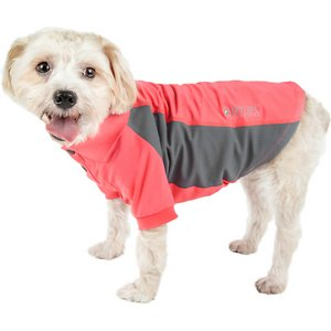 Pet Life Active Barko Pawlo Relax-Stretch Wick-Proof Performance Dog Polo T-Shirt, Salmon Red/Dark Grey, Medium; Dress your doggie dude up with the Pet Life Active Barko Pawlo Relax-Stretch Wick-Proof Performance Dog Polo T-Shirt. This collared performance t-shirt for dogs is specially engineered with rib-sided micro-panels to help enhance mobility and ventilation. It is crafted with four-way stretch construction to create a loose customized fit complete with quick-drying and anti-odor technology. This polo-like dog shirt features a classy knitted collar and is machine-washable for easy cleaning. It is designed in a pull-over style that provides UV protection and includes dual reinforced stitching and reflective taping to help keep your canine companion safe.