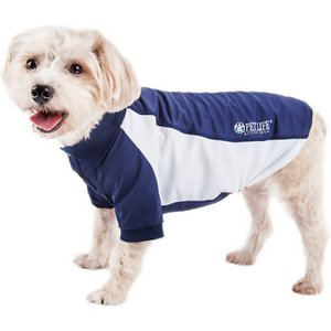 Pet Life Active Barko Pawlo Relax-Stretch Wick-Proof Performance Dog Polo T-Shirt, Navy/White, X-Small; Dress your doggie dude up with the Pet Life Active Barko Pawlo Relax-Stretch Wick-Proof Performance Dog Polo T-Shirt. This collared performance t-shirt for dogs is specially engineered with rib-sided micro-panels to help enhance mobility and ventilation. It is crafted with four-way stretch construction to create a loose customized fit complete with quick-drying and anti-odor technology. This polo-like dog shirt features a classy knitted collar and is machine-washable for easy cleaning. It is designed in a pull-over style that provides UV protection and includes dual reinforced stitching and reflective taping to help keep your canine companion safe.