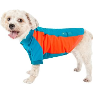 Pet Life Active Barko Pawlo Relax-Stretch Wick-Proof Performance Dog Polo T-Shirt, Light Blue, X-Large; Dress your doggie dude up with the Pet Life Active Barko Pawlo Relax-Stretch Wick-Proof Performance Dog Polo T-Shirt. This collared performance t-shirt for dogs is specially engineered with rib-sided micro-panels to help enhance mobility and ventilation. It is crafted with four-way stretch construction to create a loose customized fit complete with quick-drying and anti-odor technology. This polo-like dog shirt features a classy knitted collar and is machine-washable for easy cleaning. It is designed in a pull-over style that provides UV protection and includes dual reinforced stitching and reflective taping to help keep your canine companion safe.