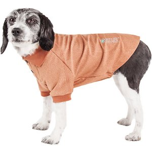 Pet Life Active \\\'Fur-Flexed\\\' Relax-Stretch Wick-Proof Performance Dog Polo T-Shirt, Tan, X-Small; Outfit your amigo with the Pet Life Active \\\'Fur-Flexed\\\' Relax-Stretch Wick-Proof Performance Dog Polo T-Shirt. This collared performance t-shirt for dogs is specially engineered to help enhance mobility and ventilation with a micro-threaded look that feels like cotton. It is crafted with four-way stretch construction to create a customized fit complete with quick-drying and anti-odor technology. This polo-like dog shirt features a classy knitted collar and is machine-washable for easy cleaning. It is designed in a pull-over style that provides UV protection and includes dual reinforced stitching and reflective taping to help keep your canine companion safe.