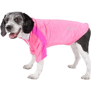 Pet Life Active Chewitt Wagassy 4-Way Stretch Performance Long Sleeve Dog T-Shirt, Light Pink, Large; Provide your pal with a little UV protection using the Pet Life Active Chewitt Wagassy 4-Way Stretch Performance Long Sleeve Dog T-Shirt. This long-sleeve performance t-shirt for dogs is specially engineered with lightweight stretchy fabric to help enhance mobility and ventilation. It is crafted with four-way stretch construction to create a customized relaxed fit complete with quick-drying and anti-odor technology. This stretchy dog shirt features integrated micro-panels and a lighter blend of fabric on the sides and arms for breathability. It is designed in a zip-up style that includes a protective zipper flap, a leash slit along the back, dual reinforced stitching and reflective taping to help keep your canine companion safe.