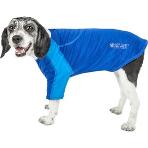 Pet Life Active Chewitt Wagassy 4-Way Stretch Performance Long Sleeve Dog T-Shirt, Blue, Small; Provide your pal with a little UV protection using the Pet Life Active Chewitt Wagassy 4-Way Stretch Performance Long Sleeve Dog T-Shirt. This long-sleeve performance t-shirt for dogs is specially engineered with lightweight stretchy fabric to help enhance mobility and ventilation. It is crafted with four-way stretch construction to create a customized relaxed fit complete with quick-drying and anti-odor technology. This stretchy dog shirt features integrated micro-panels and a lighter blend of fabric on the sides and arms for breathability. It is designed in a zip-up style that includes a protective zipper flap, a leash slit along the back, dual reinforced stitching and reflective taping to help keep your canine companion safe.
