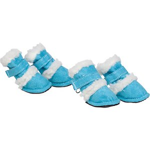 Pet Life Shearling Duggz Dog Shoes, 4 count, Blue & White, Large; Keep the weather from wearing on your furry buddy with Pet Life Shearling Duggz Dog Shoes. These stylish shoes for dogs feature a suede and Sherpa outer shell. They are crafted for comfort with an insulated liner and a wraparound hook and loop closure for support. These dog shoes are designed to be easy to get on and off using the rear zipper. They are machine washable for easy cleaning and equipped with rubberized grips to help keep your guy grounded.