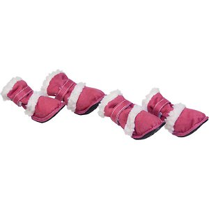 Pet Life Shearling Duggz Dog Shoes, 4 count, Pink & White, Small; Keep the weather from wearing on your furry buddy with Pet Life Shearling Duggz Dog Shoes. These stylish shoes for dogs feature a suede and Sherpa outer shell. They are crafted for comfort with an insulated liner and a wraparound hook and loop closure for support. These dog shoes are designed to be easy to get on and off using the rear zipper. They are machine washable for easy cleaning and equipped with rubberized grips to help keep your guy grounded.