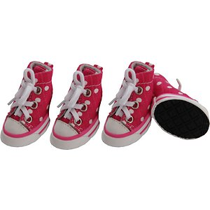 Pet Life Extreme-Skater Canvas Casual Grip Dog Sneakers, 4 count, Pink & Polka, Medium; Help your guy get a grip with Pet Life Extreme-Skater Canvas Casual Grip Dog Sneakers. These cleat-like sneakers for dogs feature premium rubberized grips for enhanced traction. They are crafted for comfort with laces that can be tightened for additional support. These canvas dog boots are paw-fect for pets recovering from injuries and preventing slippage in elder dogs. They are machine-washable for easy cleaning whenever needed and built to help your furry buddy withstand all types of weather.