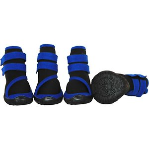 Pet Life Performance-Coned Premium Stretch Supportive Dog Shoes, 4 count, Black & Blue, Large; Give your sidekick the support he needs with Pet Life Performance-Coned Premium Stretch Supportive Dog Shoes. These premium performance shoes for dogs feature full wraparound ankle support and rubberized soles. They are crafted to be waterproof and withstand all types of terrain using comfy fleece and stretchable fabrics. These supportive dog boots are paw-fect for elder dogs and pets recovering from injuries. They are machine-washable for easy cleaning and equipped with hook and loop closures to help make them easy to get on and off of your amigo.