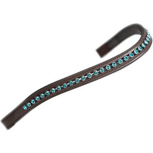 Shires Equestrian Products Aviemore Large Diamante Horse Browband, Havana/ Green, Pony