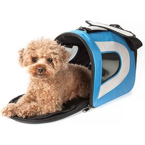 Pet Life Airline Approved Folding Zippered Sporty Mesh Dog Carrier, Blue & Grey, Medium; Take your furry fella into the great blue yonder with the Pet Life Airline Approved Folding Zippered Sporty Mesh Dog Carrier. This airline-approved carrier for dogs features dual mesh netting on the side for breathability. It is equipped with a built-in leash holder for safety. This dog travel carrier is designed with thermal heat retention technology on the interior and comes complete with an over-the-shoulder carrying strap. It is constructed using scratch-resistant nylon with a comfy Sherpa pad for the benefit of your furry buddy.