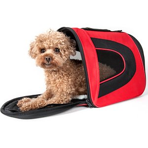 Pet Life Airline Approved Folding Zippered Sporty Mesh Dog Carrier, Red & Black, Medium; Take your furry fella into the great blue yonder with the Pet Life Airline Approved Folding Zippered Sporty Mesh Dog Carrier. This airline-approved carrier for dogs features dual mesh netting on the side for breathability. It is equipped with a built-in leash holder for safety. This dog travel carrier is designed with thermal heat retention technology on the interior and comes complete with an over-the-shoulder carrying strap. It is constructed using scratch-resistant nylon with a comfy Sherpa pad for the benefit of your furry buddy.