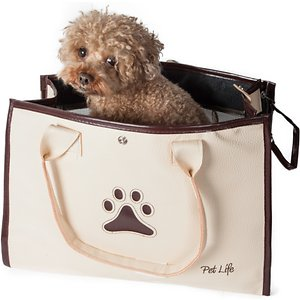 Pet Life Posh Paw Dual Closure Dog Carrier, White & Brown; Show your furry friend how to live a life of leisure with the Pet Life Posh Paw Dual Closure Dog Carrier. This fashionable pet carrier for dogs is designed with 180-degree mesh for ventilation and visibility. It features adjustable sunroof closures for added light and is crafted to support up to 20 pounds. This stylish dog carrier is equipped with easy over-the-shoulder straps for your convenience. A built-in leash holder is included to help keep your sidekick safe and secure.