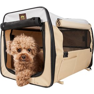 Pet Life Folding Zippered Wire-Framed Dog Crate, Khaki, 19.3 inch; Bring your furry buddy just about anywhere with the Pet Life Folding Zippered Wire-Framed Dog Crate. This folding dog crate is designed to collapse down to just two inches while being lightweight and easy to carry. It is crafted using tough scratch-resistant ballistic nylon that's paw-fect for both indoor and outdoor use. This wire-framed dog crate features a zippered front entrance and mesh panels on three sides. It includes a comfy Sherpa cushion, convenient handlebar and a built-in leash holder for safety.