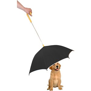 Pet Life Pour-Protection Dog Umbrella & Leash Holder, Black ; Shield your sidekick from the elements with the Pet Life Pour-Protection Dog Umbrella & Leash Holder. This umbrella for dogs is designed for long-lasting durability with ultra-sturdy metallic hinges. It is crafted to connect to just about any leash or harness and features reflective lining along the edges for safety. This doggie umbrella for pets is constructed to be collapsible down to a two-inch diameter for convenient storage when not in use. Choose from multiple colors to find the best match for your pet pal's personality.