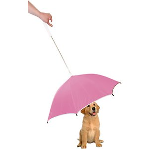 Pet Life Pour-Protection Dog Umbrella & Leash Holder, Pink ; Shield your sidekick from the elements with the Pet Life Pour-Protection Dog Umbrella & Leash Holder. This umbrella for dogs is designed for long-lasting durability with ultra-sturdy metallic hinges. It is crafted to connect to just about any leash or harness and features reflective lining along the edges for safety. This doggie umbrella for pets is constructed to be collapsible down to a two-inch diameter for convenient storage when not in use. Choose from multiple colors to find the best match for your pet pal's personality.