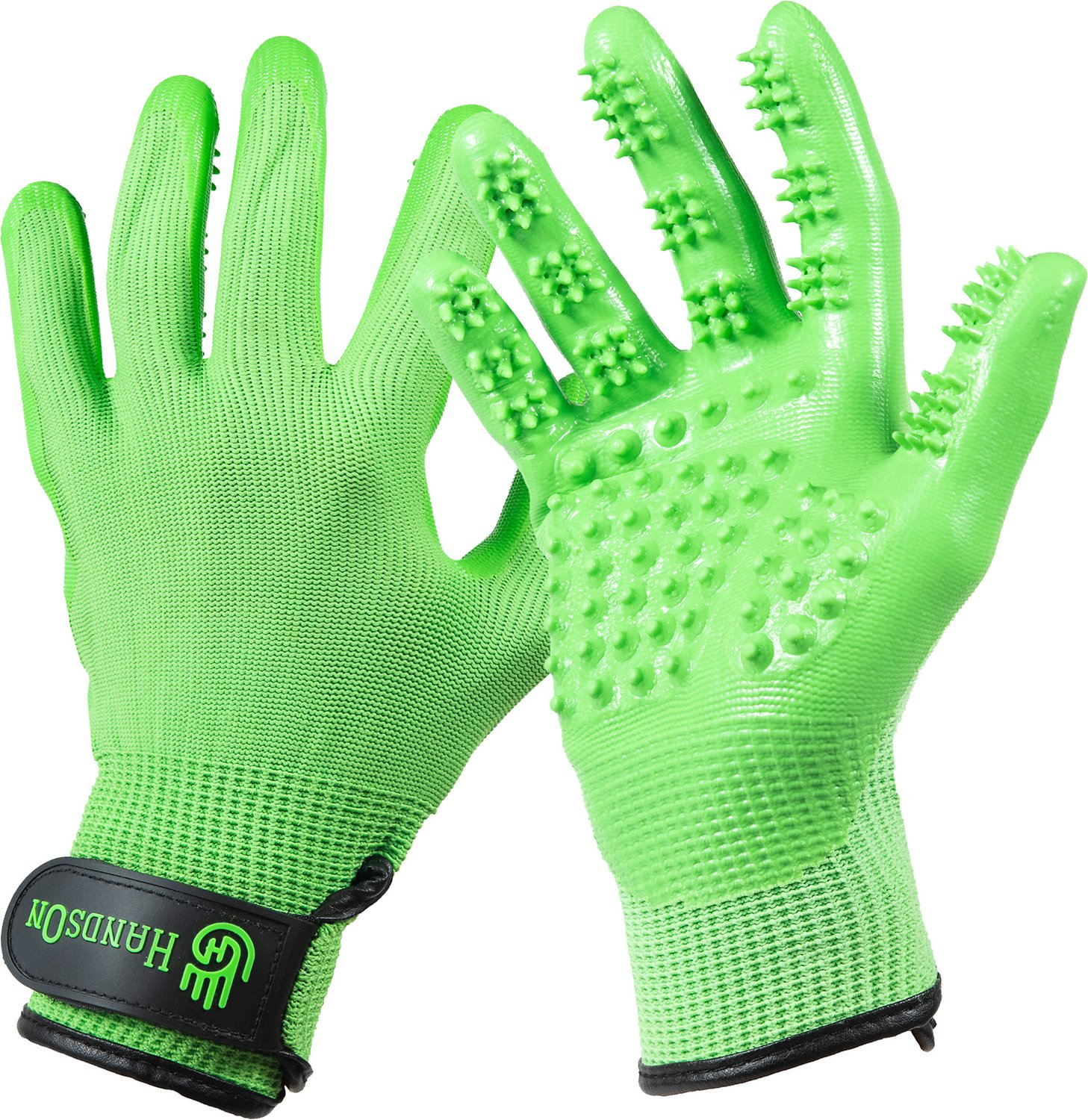 HandsOn Revolutionary Grooming//Bathing Gloves for Pets Green Size Extra Large