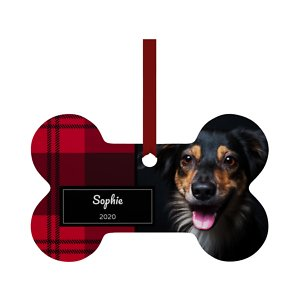 Frisco Personalized Plaid Bone Shape Metal Ornament