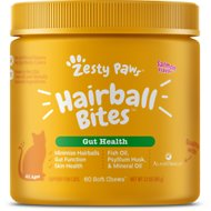 Zesty Paws All Ages Hairball Bites Gut Health Salmon Flavor Cat Supplement, 60 count