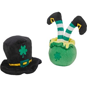 Frisco Shamrock Hat and Leprechaun Bottom Plush Cat Toy with Catnip, 2-count