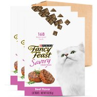 Fancy Feast Savory Cravings Limited Ingredient Beef Flavor Cat Treats, 3-oz box, case of 3