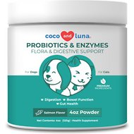 Vita Pet Life Coco and Luna Probiotics & Enzymes Flora & Digestive Support Salmon Flavor Powder Dog & Cat Supplement, 4-oz jar