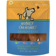 Honey I'm Home! Crunchy Ears Natural Honey Coated Buffalo Chews Dog Treats