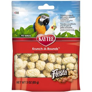 Kaytee Fiesta Krunch-A-Rounds Hookbill Bird Treats, 3-oz bag; Give your bird a crunchy, nutty treat with Kaytee Fiesta Krunch-A-Rounds Hookbill Bird Treats. Birds love variety in their diet, especially hearty snacks they can gnaw and chew. Kaytee Fiesta Krunch-A-Rounds Hookbill Bird Treats are delicious peanut centers rolled in crispy rice and covered in sesame seeds for a tasty, nutty nugget your bird will love. Offer as an occasional treat or training reward for Parrots, Cockatiels and other hookbills. Discard any uneaten or soiled portions. Treats should make up only 20 percent of your bird\\\'s diet.