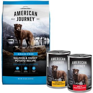 American Journey Salmon & Sweet Potato Recipe Grain-Free Dry Dog Food, 24-lb bag & American Journey Stews Poultry & Beef Variety Pack Grain-Free Cann