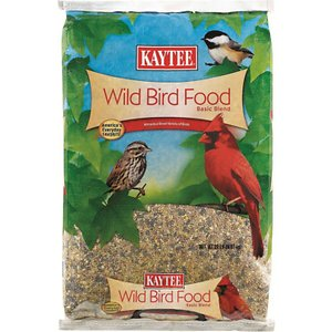 Kaytee Basic Blend Wild Bird Food, 20-lb bag; Kaytee Basic Blend Wild Bird Food is an everyday favorite for both bird-watchers and wild birds. This classic food includes a number of different grains to attract a wide variety of birds throughout the seasons. It's been a mainstay in backyard feeders and is suggested for use in hopper, large-tube and covered fly-through feeders.