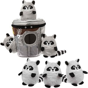 Frisco Hide and Seek Plush Trash Can Puzzle Dog Toy & Frisco Hide and Seek Raccoon Dog Toy Refills, 3-pack
