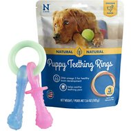 Nylabone Teething Pacifier Puppy Chew Toy & N-Bone Puppy Teething Ring Chicken Flavor Dog Treats