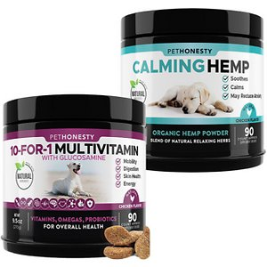 PetHonesty 10-for-1 Multivitamin with Glucosamine Snacks Soft Chews Dog Supplement, 90 count & PetHonesty Hemp Calming Anxiety & Hyperactivity Soft C