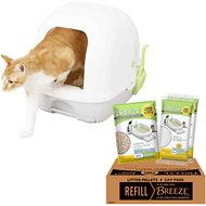 Tidy Cats Breeze Hooded Cat Litter Box System & Tidy Cats Breeze Cat Pads & Litter Pellets Bundle Pack
