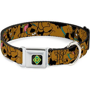 Buckle-Down Scooby Doo Polyester Dog Collar, Medium: 11 to 17-in neck, 1-in wide; **Remember to measure your pet for the paw-fect fit.** Put your doggie dude in the mood to solve some mysteries with the Buckle-Down Scooby Doo Dog Collar. This collar features an easy-to-use, miniature, seatbelt-style buckle with a simple center button that releases the clasp. It is crafted for long-lasting durability using strong stainless steel and high-density polyester. This Scooby Doo dog collar is designed with beautiful and vibrant artwork to accent your adorable amigo everywhere you go.