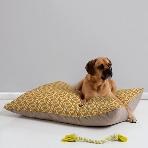 Deny Designs Pillow Cat & Dog Bed w/ Removable Cover, Geometric Chains Gold; Your furry friend can enjoy a paw-fect nap and catch some essential zzz's on a Deny Designs Pillow Cat & Dog Bed. Ideal for any beloved critter—including cats, dogs and even pigs—who needs a comfy spot, this bed is equipped with cozy fleece and a removable cover for easy cleaning. Better yet, it's crafted to be stylish! This artist-designed, USA-made pet bed will add a creative, cozy touch to your home.