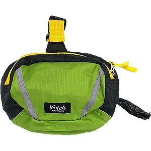 Fetch Pet Products Double Doodie Poop Bag Holder & Treat Pouch, Green