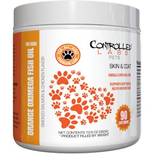 Controlled Labs Pets Orange Oximega Fish Oil Skin & Coat Support Smoked Salmon & Chicken Flavor Soft Chews Dog Supplement, 90 count