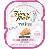 Fancy Feast Petites In Gravy Seared Salmon With Spinach Entrée Wet Cat Food, 2.8-oz, case of 12