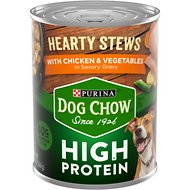 Dog Chow Hearty Stews With Real Chicken & Vegetables In Savory Gravy High Protein Wet Dog Food, 13-oz can, case of 12