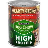 Dog Chow Hearty Stews With Real Beef & Vegetables In Savory Gravy High Protein Wet Dog Food, 13-oz can, case of 12