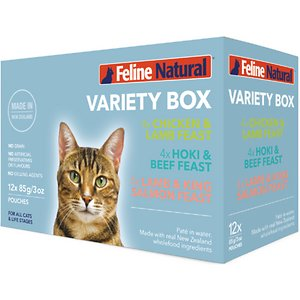 Feline Natural Variety Pack Grain-Free Wet Cat Food, 3-oz pouch, case of 12
