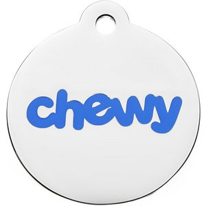 Frisco Chewy Stainless Steel Personalized Dog & Cat ID Tag with Enamel Infill, Round, Small