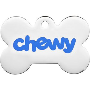 Frisco Chewy Stainless Steel Personalized Dog & Cat ID Tag with Enamel Infill, Bone, Small