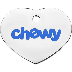 Frisco Chewy Stainless Steel Personalized Dog & Cat ID Tag with Enamel Infill, Heart, Small