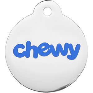Frisco Chewy Stainless Steel Personalized Dog & Cat ID Tag with Enamel Infill, Round, Regular