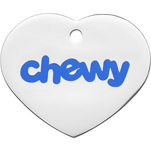 Frisco Chewy Stainless Steel Personalized Dog & Cat ID Tag with Enamel Infill, Heart, Regular