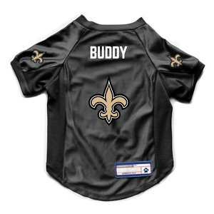 Littlearth NFL Personalized Stretch Dog & Cat Jersey, New Orleans Saints, Medium