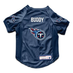 Littlearth NFL Personalized Stretch Dog & Cat Jersey, Tennessee Titans, Medium