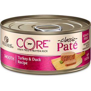 Wellness CORE Natural Grain Free Turkey & Duck Pate Canned Cat Food, 5.5-oz, case of 24, bundle of 2