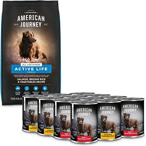 American Journey Active Life Formula Salmon, Brown Rice & Vegetables Recipe Dry Food + Stews Poultry & Beef Grain-Free Canned Dog Food