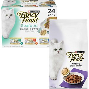 Fancy Feast Classic Seafood Feast Canned Food + Gourmet Savory Chicken & Turkey Dry Cat Food